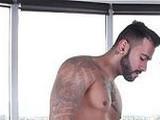 hunks, massage, room, tattooed